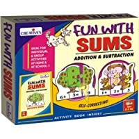 Creative Educational Aids P. Ltd. Fun With Sums - Addition And Subtraction Puzzle (Multi-Color, Set Of 30)