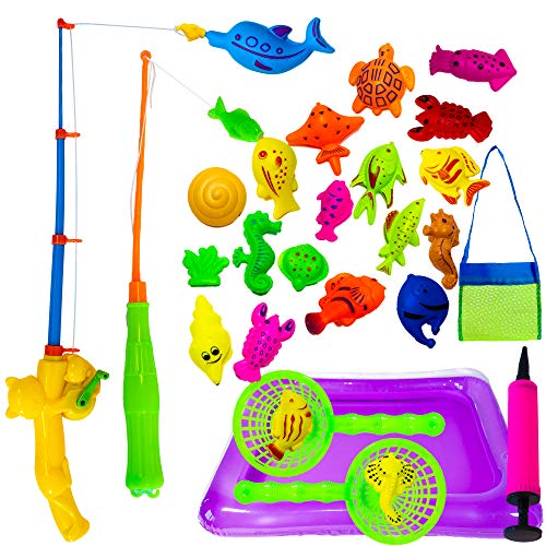 (Hanhanho Fishing Bath Toy Set for Kids - (22 Pack) Includes 2 Fishing Poles, 2 Nets, 1 Bag, and 1 Swimming Pool - Summer Magnetic Fish Toys for Toddlers - Perfect for Keeping Kids Cool This Summer!)