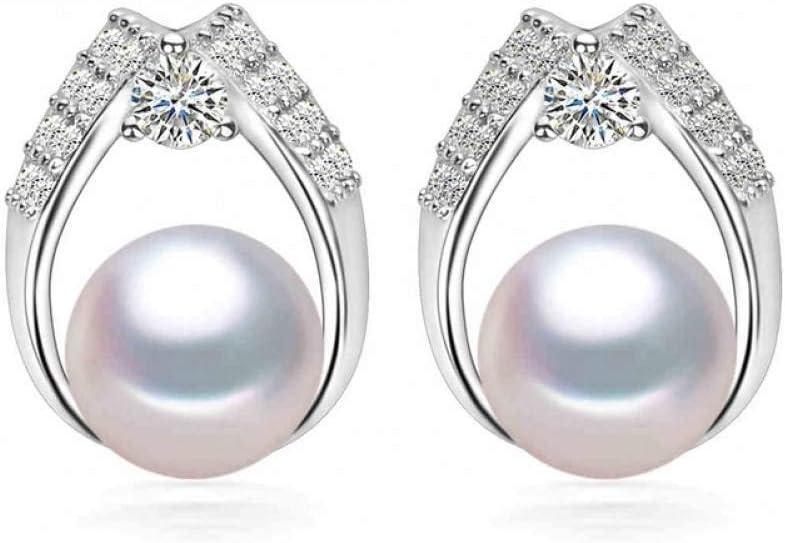 MNGGNM Pendientes de Perlas Naturales Mujeres Perlas de Agua Dulce Marca Pendientes de botón Pendientes de Perlas Negras y Piedras Preciosas