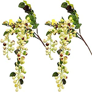 Rinlong Artificial Berries Hanging Spray Frosted for Flowers Arrangement Home Hotel Decor 2pcs per Pack (White) 1