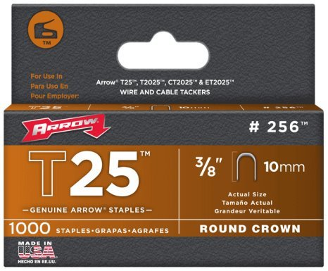 Arrow Fasteners 256 T25 Round Crown Staples .38 in. 10mm