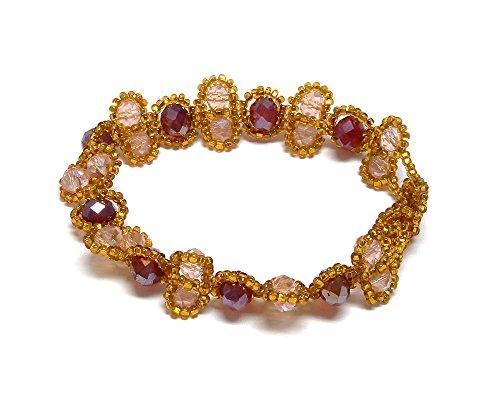 Peach Oval Beads - Mia Jewel Shop Crystal Bead Seed Bead Oval Link Bracelet (Gold/Red/Peach)