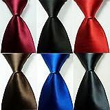 jacob alex #44287 Novelty Solid Plain of 6 Color Jacquard Woven 100% Silk Men's Tie Necktie 59