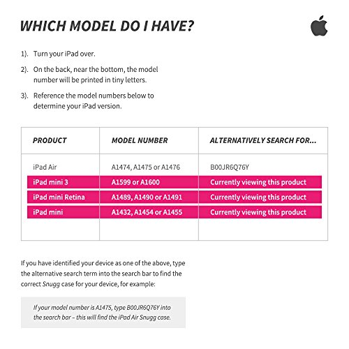 iPad Mini 1 / 2 / 3 360 Rotatable Keyboard Case, Snugg - Ultra Slim Keyboard Cover Case with Bluetooth Connectivity (Hot Pink) For Apple iPad Mini 1 / 2 / 3 Retina