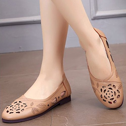 Casual Suave Fondo la Verano Tacón Mujeres de Cómodos Zapatos Plano Cuero de de Marrón y de Zapatos Huecas Las de Zapatos Sandalias Huecas Madre Primavera Solos q16Zn