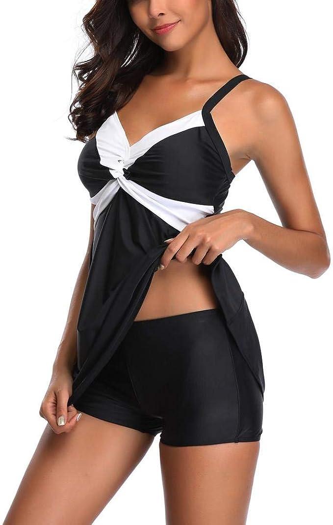 Tankini para Mujer SHOBDW Tallas Grandes Trajes de Baño Pantalones Cortos para Niños Bikini para MujerConjunto BáSico Negro Sujetador Push-Up de Talle Alto Traje de Baño: Amazon.es: Ropa y accesorios