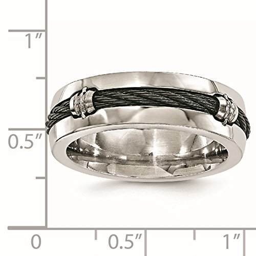 Titanium & Cable Polished 7mm Wedding Ring Band Size 8 by Edward Mirell by Venture Edward Mirell Titanium Bands (Image #5)
