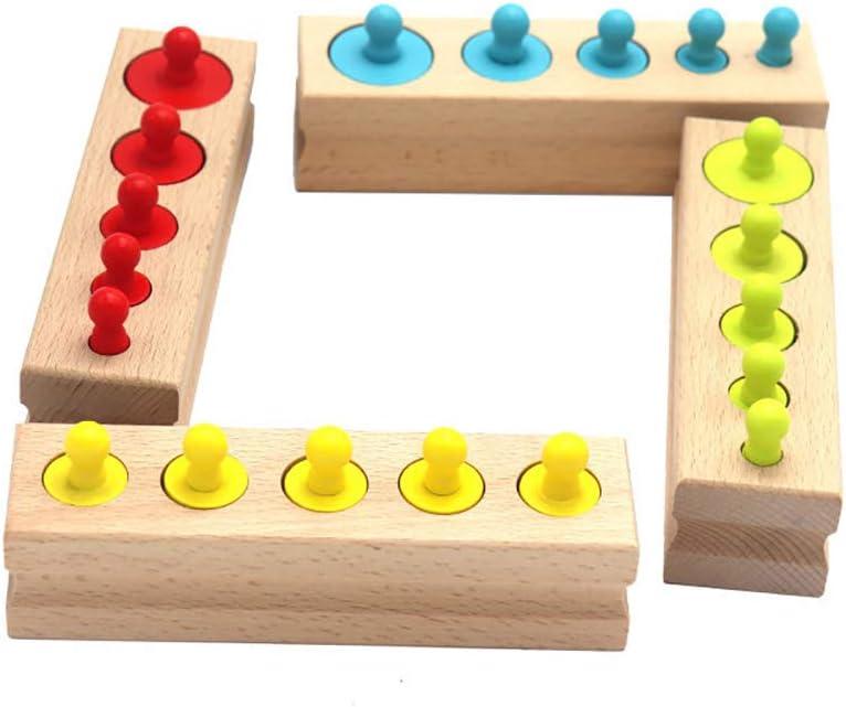 hudiemm0B Brain Games,Brain Toys,Colorful Socket Cylinder Blocks Wooden Montessori Children Cylinder Educational Toys