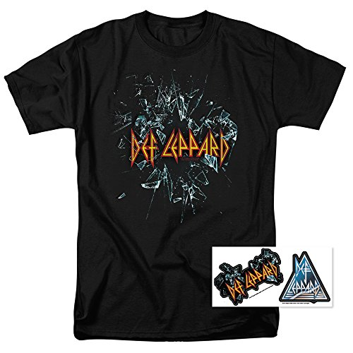 (Def Leppard Shattered Glass 80s Hard Rock T Shirt (X-Large))