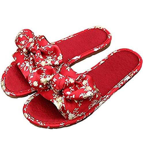Summer Bow Tie red Flats On Slip Breathable and Slide Women's Satin Slip Sandal Anti Slipper S AdwqAT