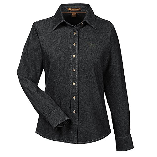 Labrador Black Embroidered Ladies 100% Cotton Denim Shirt