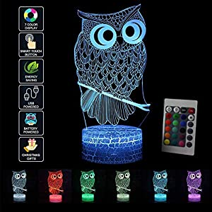 3D Optical Illusion Lamp Night Light LED Kids Owl Mood Light Remote Control Bedside Table Lamp Touch Switch Colors Change Birthday Gift (Multi-Colored-1) 516WfDwUaLL