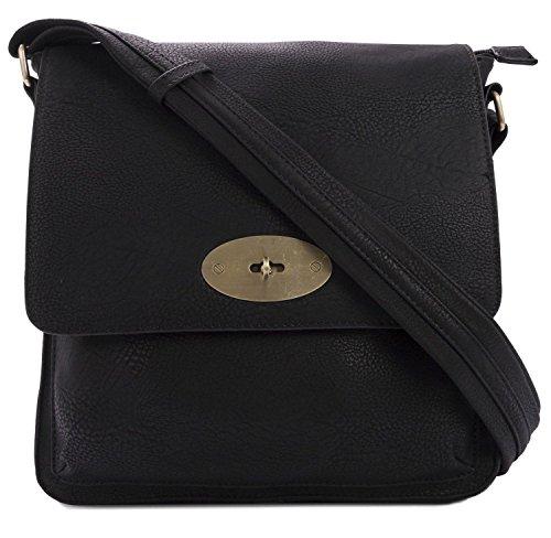 Kukubird Faux Leather Twist-Lock Clasp Detailing Crossbody Messenger Bag - Black (Twist Lock Leather)