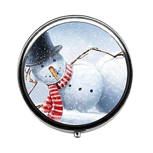 (Pill Box 3 Times a Day,Snowman Travel Pill Case Round Pill Box with Mini Makeup Mirror Diameter 4.5 cm)