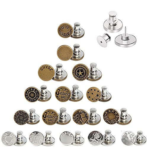AXEN 16PCS Button Pins for Jeans, No sew Perfect Instant Fit Button, Simple Installation Instant Reduce or Extend Pants Waist