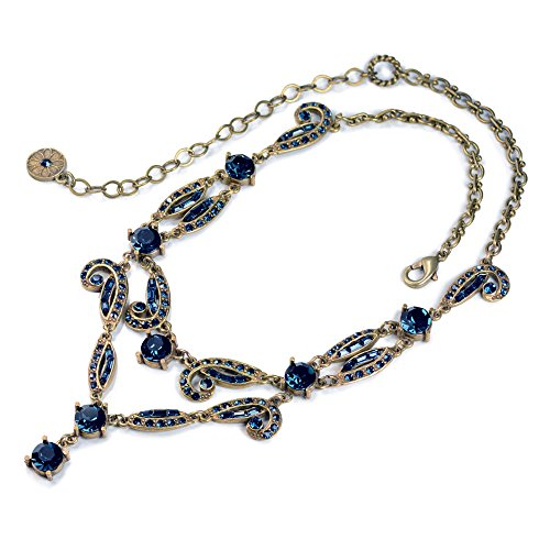 - Sweet Romance Art Deco Vintage Hollywood Crystal Necklace N1102 (Blue)