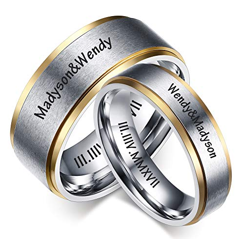 LMXXV Set for 2 Personalized Date Name Matching Ring Brushed Finish Stainless Steel Couples Ring for Wedding Band]()