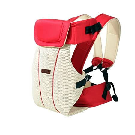 Baby Carrier Front and Back Adjustable 4 Positions Carrier 3D Mesh Backpack Pouch Bag Soft Structured Ergonomic for Newborns, Infants & Toddlers (red) GOMNEAR
