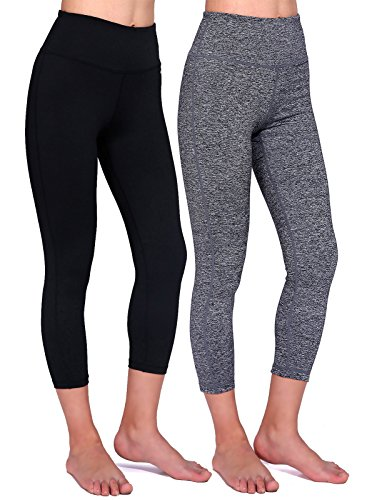 Tiger Yoga Pant (Daisity Women's Yoga Capris - Gym Activewear Slim Spandex Tights - Hidden Pocket Color Black Grey Pack Of 2 Size)