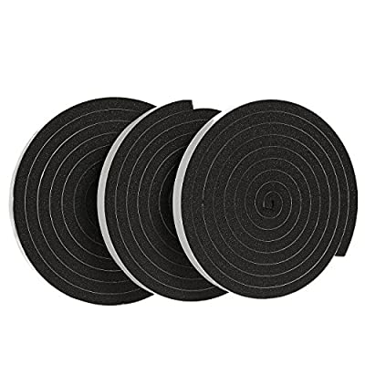 3 Pack Weather Stripping Foam Tape - Multi-Surface Black Adhesive Weatherstrip Foam Tape for Home Improvement, Weatherstripping - 10 feet length