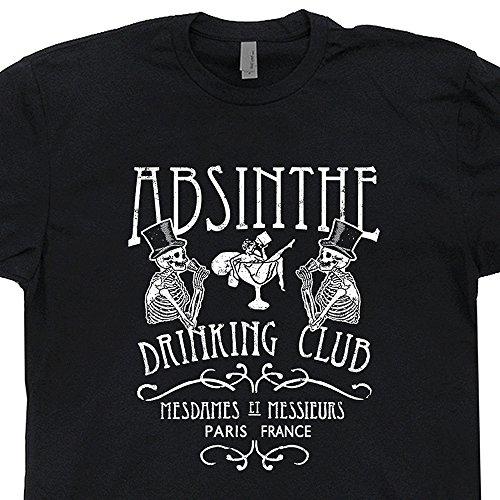 S - Absinthe T Shirt Paris France Drinking Club Tee French Bar Vintage Fairy Vincent Van Gogh Scream Beer Alcohol Tees - Fairy Absinthe Black