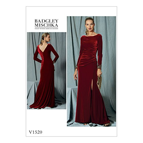 Vogue Patterns V1520E5 Women's Formal Long Sleeve Dress Sewing Pattern by Badgley Mischka, Sizes 14-22