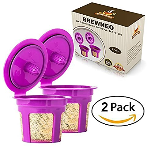 Brewneo - 2 Reusable K Cup Coffee Filters for Keurig 2.0 - K200, K300, K400, K500 Series and 1.0 Brewers - 24k Gold Plated Mesh - Set of 2 Refillable (All Start 560)
