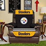 Pegasus Home Fashions NFL Pittsburgh Steelers Recliner Reversible Furniture Protector with Elastic Straps, 80-inches by 65-inches