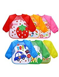 6 Pcs Toddler Baby Waterproof Sleeved Bib, 12-36 Months for Infant, Baby, Toddler