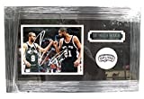 "Tim Duncan and Tony Parker San Antonio Spurs Signed Autographed 22"" x 14"" Framed Photo COA"
