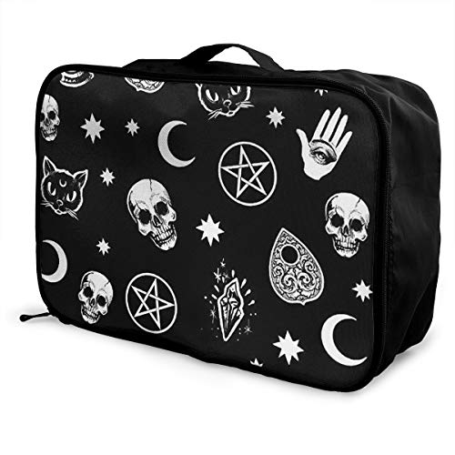 Travel Fashion Lightweight Large Capacity Portable Waterproof Foldable Storage Carry Luggage Duffle Tote Bag - Skull Cat Moon Gothic Pattern Black