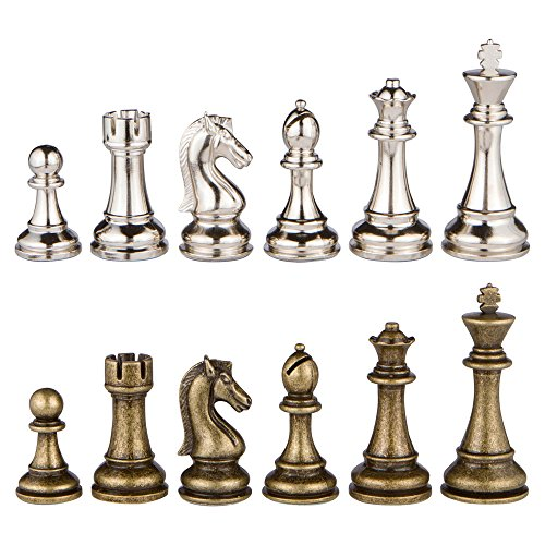 Jupiter Silver and Bronze Metal Chess Pieces with Extra Queens - Pieces Only - No Board - 4 Inch ()