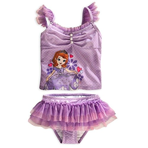 Disney Store Sofia The First Little Girl Two Pieces Deluxe Swimsuit Size - First Swimsuit The