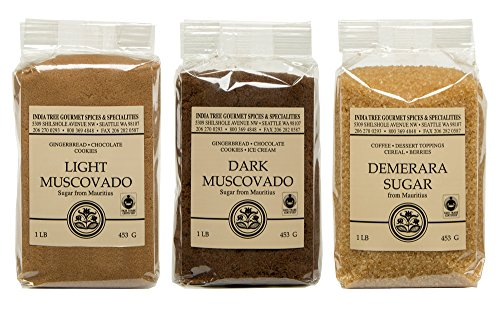 Chocolate Lite Fudge - Mauritius Brown Sugar Bundle - Demerara, Dark Muscovado and Light Muscovado - 1 Pound Bags (3 items)