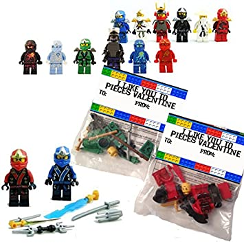 24 Brick Ninja Men Valentines Day Class Exchange Set