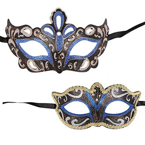 Xvevina Quality Masquerade Mask for Couples Pair Black Gold Silver Blue (Masquerade Couple Masks)