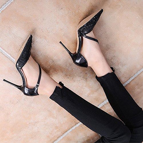 basse 34 scarpe con ad tacchi basse con i alti Sexy ardiglione scarpe e estive RBB nero a fibbia punta vYwPE6nEqU