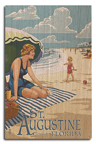 Lantern Press St. Augustine, Florida - Woman on The Beach (10x15 Wood Wall Sign, Wall Decor Ready to ()