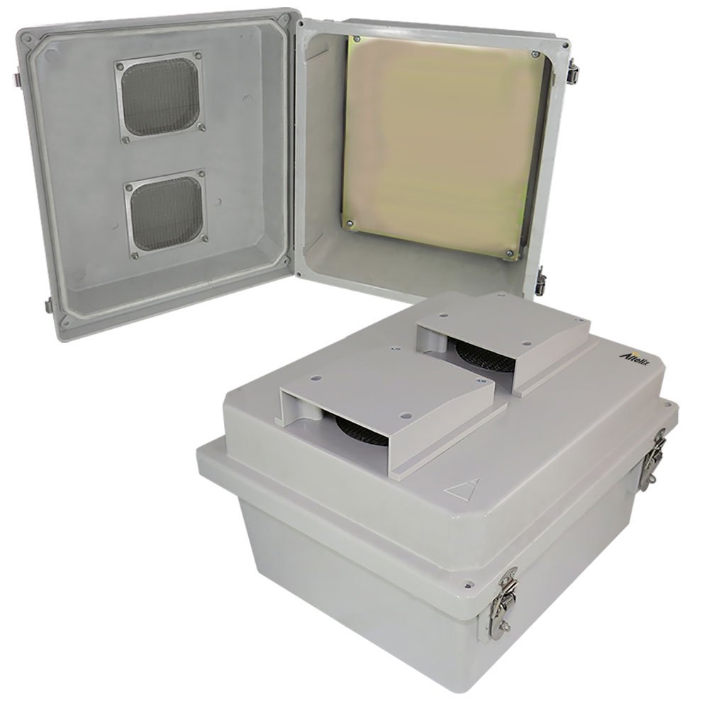 Altelix 14x12x8 Inch Vented FRP Fiberglass Weatherproof NEMA Enclosure with Aluminum Equipment Mounting Plate, Hinged Lid & Stainless Steel Latches