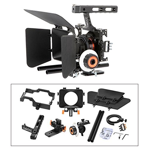 YaeCCC Video Stabilizer Kit 15mm Rod Rig Camera Cage+Follow Focus+Matte Box for Sony A7 (Orange) by YaeCCC