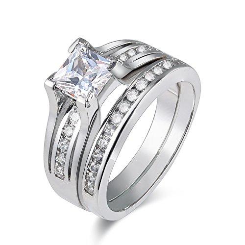 Newshe Jewellery 2.1CT Princess CZ White Gold Plated Wedding Band Engagement Ring Set Size 7