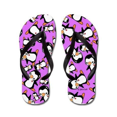Lplpol Penguins Flip Flops for Kids Adult Beach Sandals Pool Shoes Party Slippers Black Pink Blue Belt for Chosen
