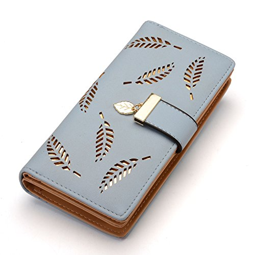 Women's Long Leaf Bifold Wallet Leather Card Holder Purse Clutch Wallet (4Blue)