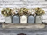 Mason Canning Jar Kitchen Farmhouse Table Centerpiece with 5 Hand Painted Ball QUART Jars in Distressed Wood Tray rusty handles *Antique White Red Brown Blue -BEAUTIFUL Hydrangea Flowers are optional