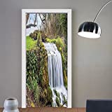 Gzhihine custom made 3d door stickers Tapestry Waterfall Forest Art Prints Scenery Decor with One of a Kind Machine Washable Silky Satin Green White For Room Decor 30x79