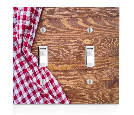 Moonlight Printing Country Pic Nic Table Cloth Background Double Light Switch Plate