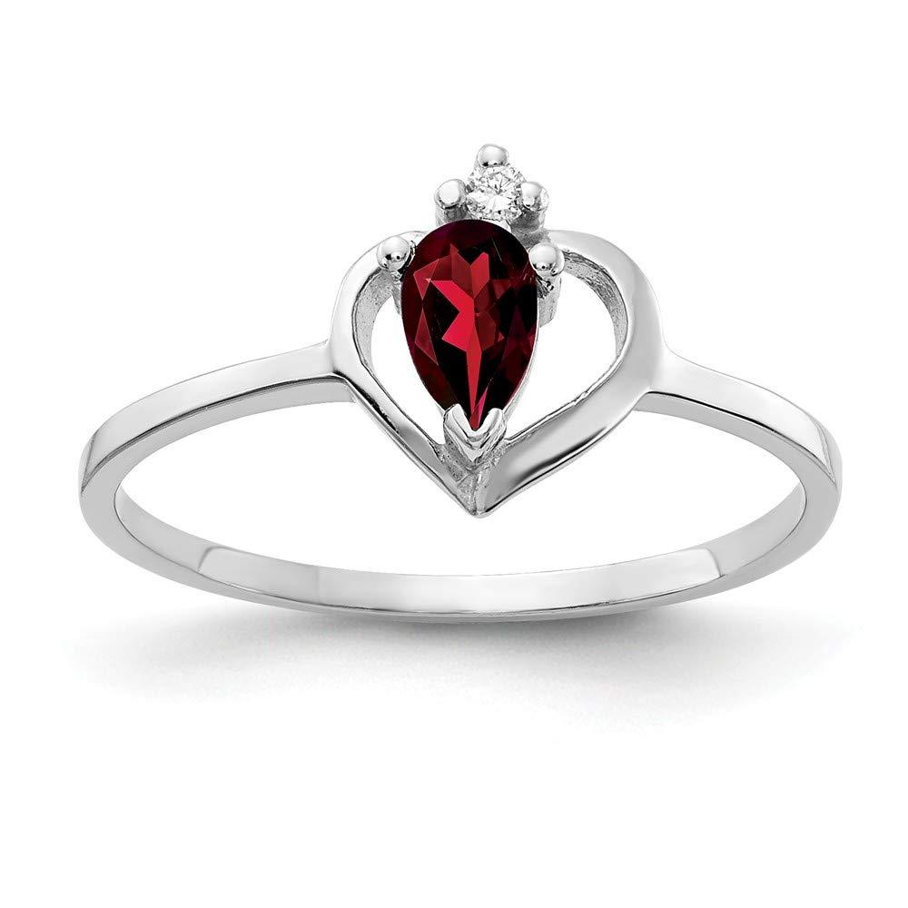 Jewelry Adviser Rings 14k White Gold 5x3mm Pear Garnet AAA Diamond ring Diamond quality AAA SI2 clarity, G-I color