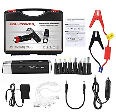 Best Car Jump Starter Flashlight Build with Air Compressor 10 in 1 set,600A Peak 12000 mAh Jump Pack,With 2 USB Ports and 1 LED flashlight Digital Display for Diesel and Petrol Vehicles