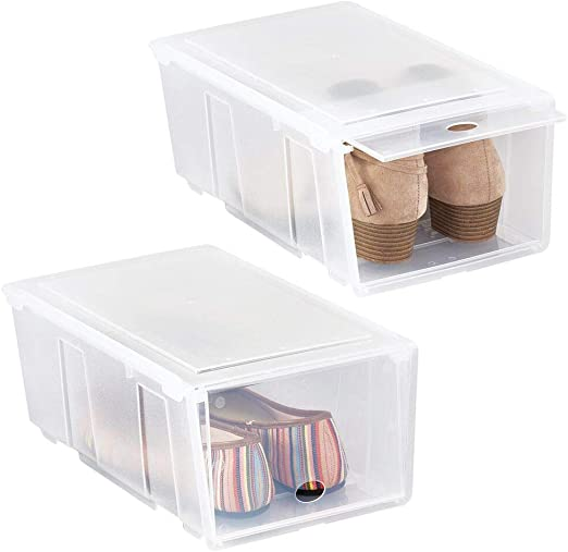 mDesign Juego de 2 cajas para zapatos pequeñas de plástico – Cajas apilables con tapa abatible – Prácticas cajas organizadoras para armarios o estanterías – transparente mate: Amazon.es: Hogar