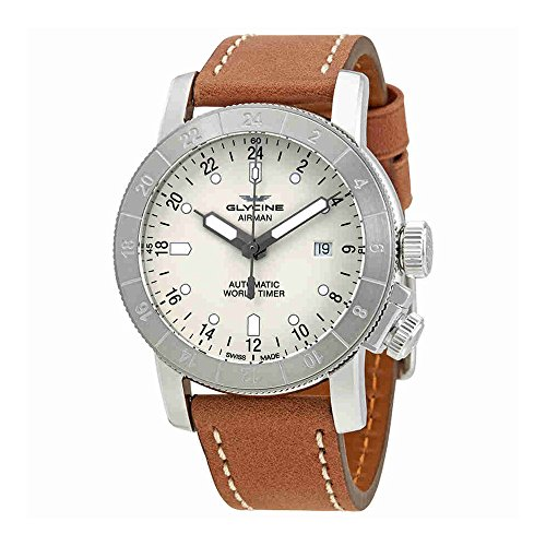 Gmt World Timer (Glycine Airman World Timer GMT Automatic Silver Dial Mens Watch GL0138)